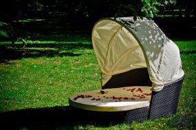 Kerti vászontetős ágy, Fekete, TACITO SET