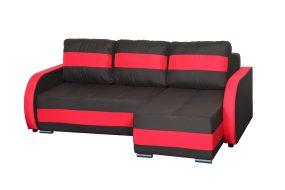 Cordoba Ággyá alakítható sarok ülőgarnitúra, erősített rugókkal Fekete - Piros