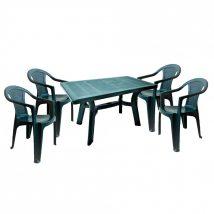 Lamia 4 személyes kerti bútor szett, zöld asztallal, 4 db Palermo zöld székkel