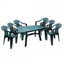 Lamia 6 személyes kerti bútor szett, zöld asztallal, 6 db Palermo zöld székkel