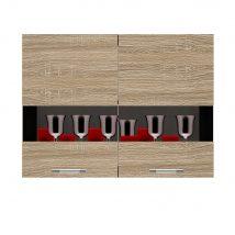 Salandra Elemes konyha 2 ajtós üveges felsőszekrény sonoma