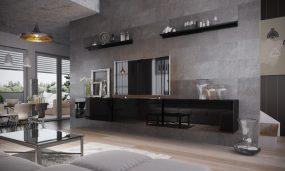Salas 06 Magasfényű 5 modul Nappali fali bútorszett Fekete