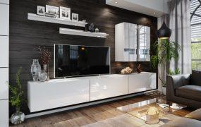 Salas 01 Magasfényű modul Nappali fali bútorszett Fehér