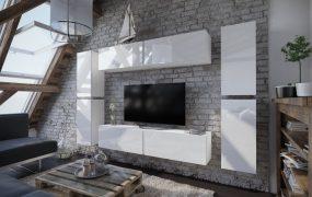 Salas 02 Magasfényű 8 modul Nappali fali bútorszett Fehér