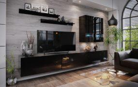 Salas 01 Magasfényű modul Nappali fali bútorszett Fekete