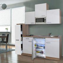 Hagen 180 cm-es konyhabútor egyrészes kamraszekrénnyel Sonoma - Fehér