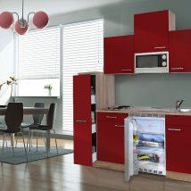 Hagen 180 cm-es konyhabútor egyrészes kamraszekrénnyel Sonoma - Bordó