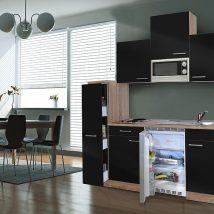 Hagen 180 cm-es konyhabútor egyrészes kamraszekrénnyel Sonoma - Fekete
