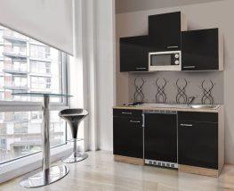 Hagen150 konyhabútor 150cm-es Sonoma - Fekete egymedencés csepegtetős mosogatótálcával