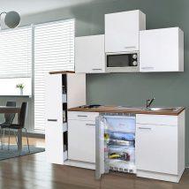 Hagen 180 cm-es konyhabútor egyrészes kamraszekrénnyel Fehér - Fehér