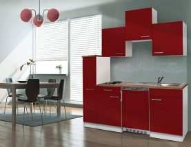 Hagen 180 cm-es konyhabútor egyrészes kamraszekrénnyel Fehér - Bordó