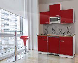 Hagen150 konyhabútor Fehér - Bordó 150cm-es, egymedencés mosogatótálcával