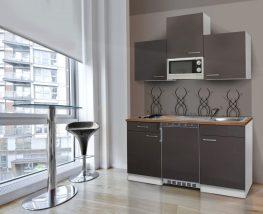 Hagen150 konyhabútor Fehér - Antracit 150cm-es egymedencés mosogatótálcával