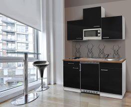 Hagen150 konyhabútor 150cm-es Fehér - Fekete egymedencés csepegtetős mosogatótálcával