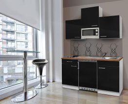 Hagen150 konyhabútor Fehér - Fekete 150cm-es egymedencés mosogatótálcával