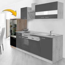 Hagen60 Beépíhető alacsony hűtősszekrény 143cm magas Sonoma - Fekete