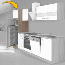 Hagen60 Beépíhető közepes hűtősszekrény 200cm magas Sonoma - Fehér