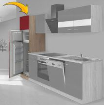 Hagen60 Beépíhető közepes hűtősszekrény 200cm magas Sonoma - Bordó