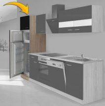 Hagen60 Beépíhető közepes hűtősszekrény 200cm magas Sonoma - Fekete