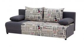 Laura kanapé M27 újságmintás ágyazható ágyneműtartós