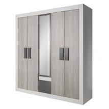 Helios 21 5 ajtós Gardrób szekrény fehér - szürke