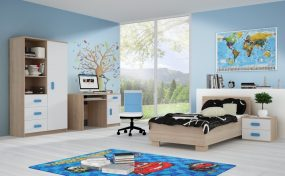 Smyk III Ifjúsági bútorszett 02 Sonoma - Fehér - Többféle színes fogantyúval