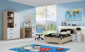 Smyk III Ifjúsági bútorszett 03 Sonoma - Fehér - Ágyneműtartós ággyal - Többféle színes fogantyúval