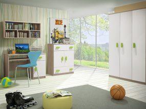 Smyk III Ifjúsági bútorszett 04 Sonoma - Fehér - Többféle színes fogantyúval