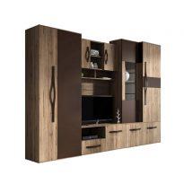 Modena II Nappali szekrénysor gardróbbal San Remo rustic/barna