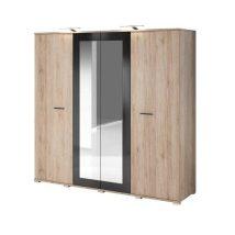 Bari 20 4 ajtós Gardrób szekrény homok/magasfenyű fekete