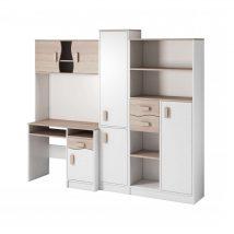 Macius Ifjúsági szekrénysor íróasztallal fehér/sonoma - színes fogantyúval