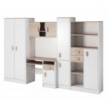 Macius II Ifjúsági szekrénysor gardróbbal fehér/sonoma- színes fogantyúval