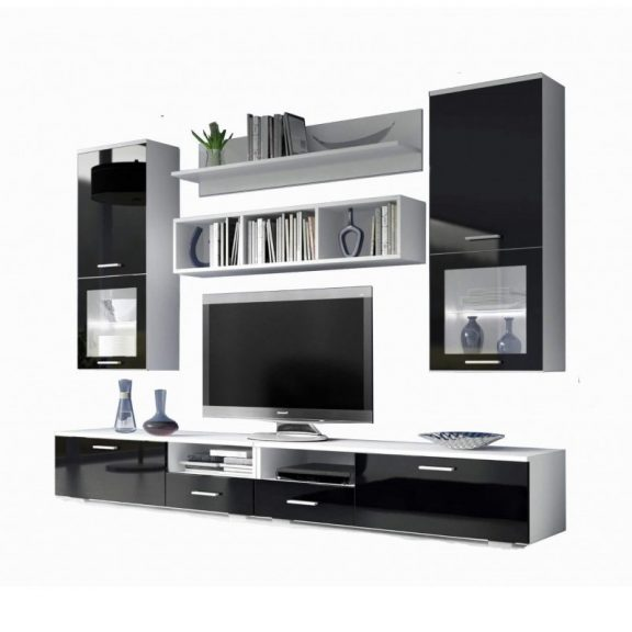 Franco Nappali bútor szett fehér/magasfenyű fekete