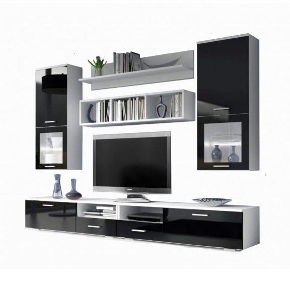 Franco nappali bútor szett fehér - magasfenyű fekete
