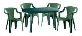 Santorini 4 személyes kerti bútor szett, zöld asztallal, 4 db Palermo zöld székkel