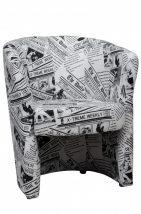 Fotel, újságmintás textilbőr, CUBA