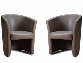 Fotel szett, 2db-os, TAUPE textilbőr, CUBA