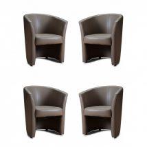 Fotel szett, 4db-os, TAUPE textilbőr, CUBA