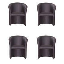 Fotel szett, 4db-os, fekete textilbőr, CUBA