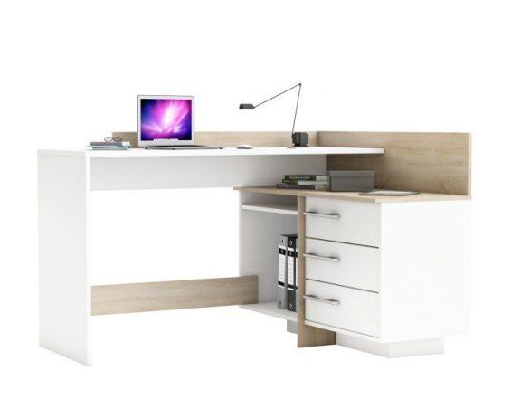 Sarok számítógépasztal, fehér/sonoma tölgyfa TALE II NEW
