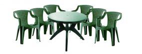 Genova II NEW 6 személyes kerti bútor szett, zöld asztallal, 6 db Palermo zöld székkel