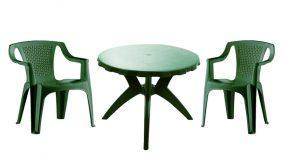 Genova II NEW 2 személyes kerti bútor szett, zöld asztallal, 2 db Palermo zöld székkel