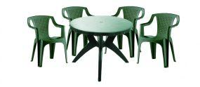 Genova II NEW 4 személyes kerti bútor szett, zöld asztallal, 4 db Palermo zöld székkel
