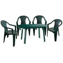 Santorini II. New 4 személyes kerti bútor szett, zöld asztallal, 4 db Palermo zöld székkel