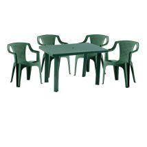 Korissia II New 4 személyes kerti bútor szett, zöld asztallal, 4 db Palermo zöld székkel