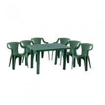 Korissia II New 6 személyes kerti bútor szett, zöld asztallal, 6 db Palermo zöld székkel
