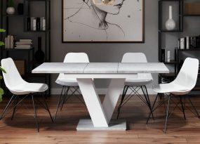 Masiv bővíthető étkezőasztal 4-6 személyes beton/magasfényű fehér