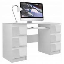 Berga Számítógép asztal - magasfényű fehér fiókokkal