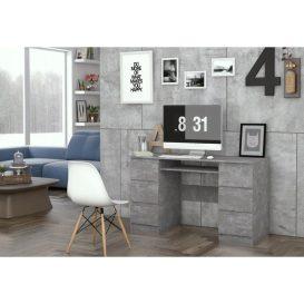6 fiókos Berga Számítógép asztal beton színben igen látványos
