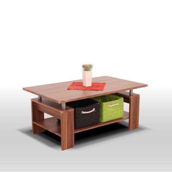 Dohányzóasztal, világos dió/ezüst, ROKO